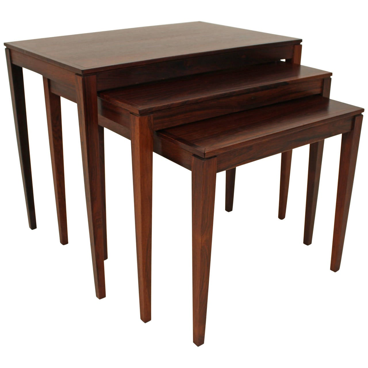 1960s Rosewood Nesting or Stacking Tables For Sale