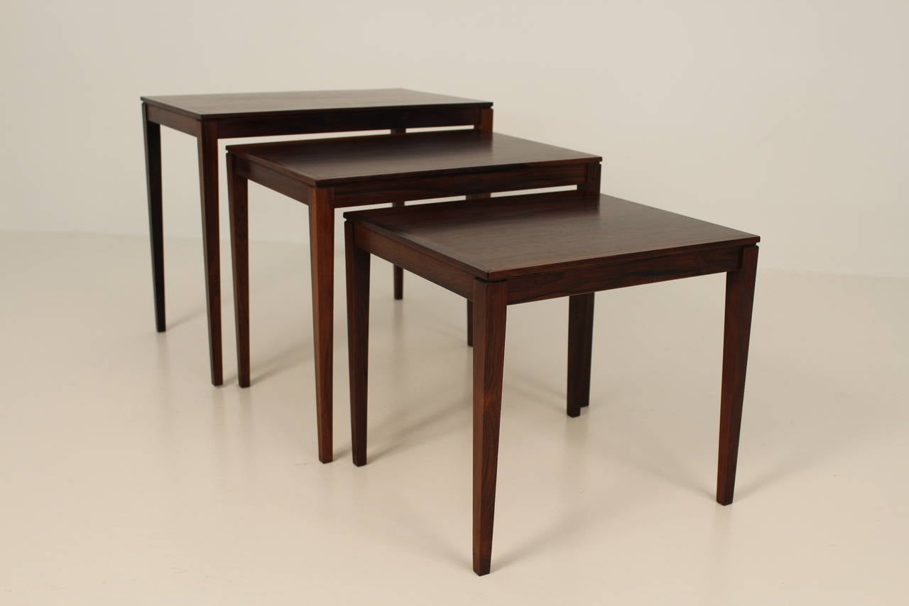 1960s Rosewood Nesting or Stacking Tables For Sale 3