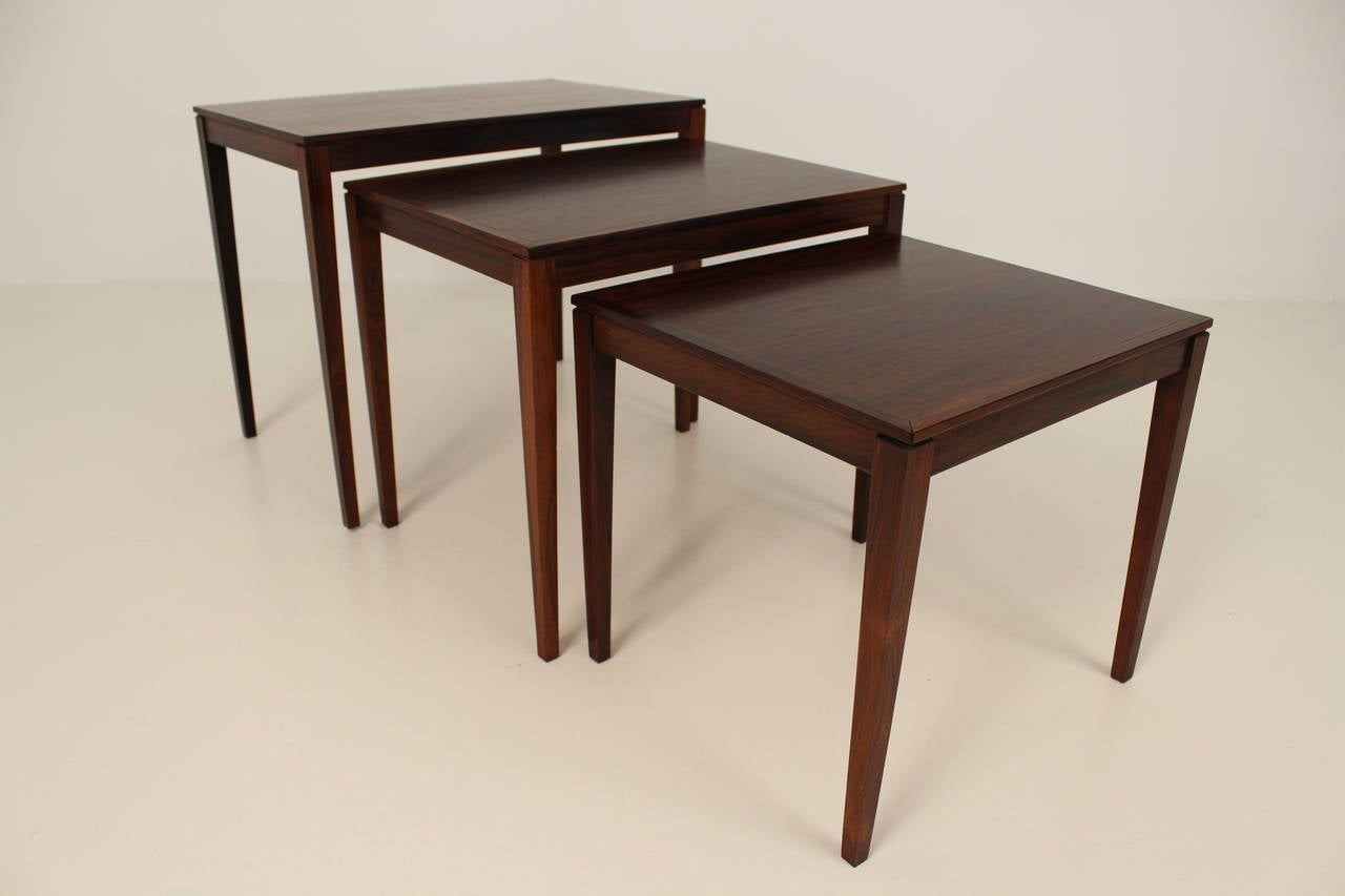 Mid-20th Century 1960s Rosewood Nesting or Stacking Tables For Sale