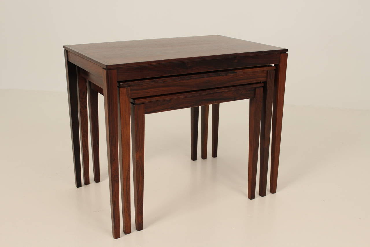 Danish 1960s Rosewood Nesting or Stacking Tables For Sale