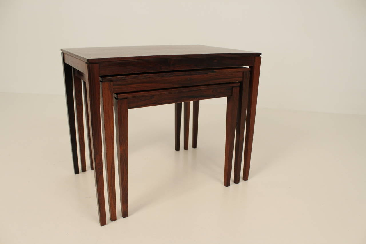 1960s Rosewood Nesting or Stacking Tables For Sale 1