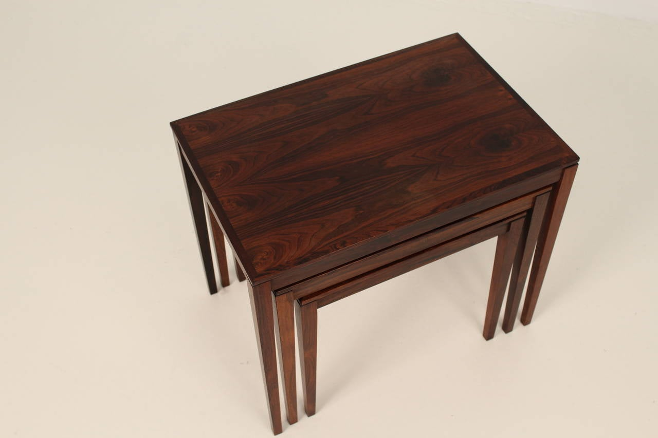 1960s Rosewood Nesting or Stacking Tables For Sale 2