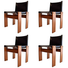 """Four 1974 """"Monk"""" Chairs by Afra & Tobia Scarpa"""