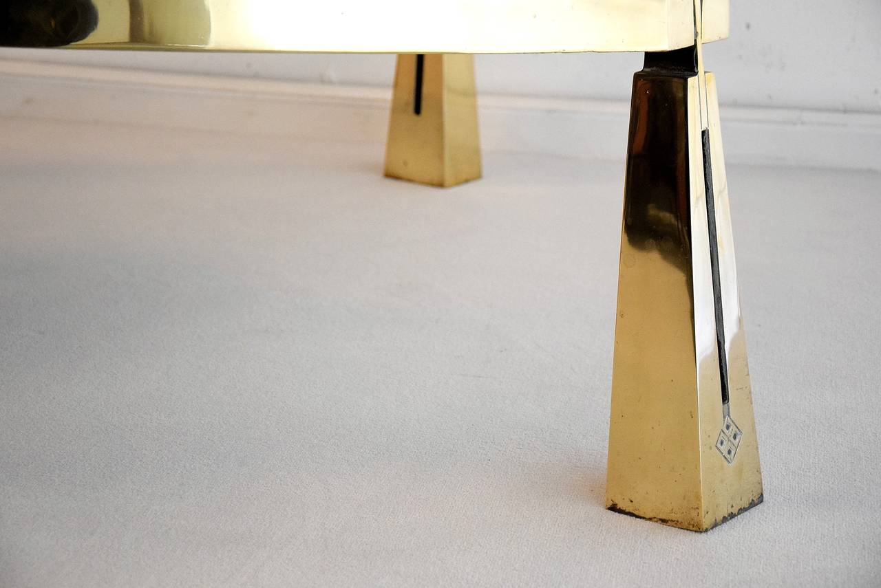Brass Hollywood Regency Coffee Table by Peter Ghyczy For Sale