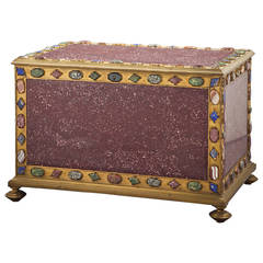 Large Italian Bronze Mounted Porphyry Casket, 19th Century