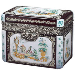 Bohemian Silver-Mounted Overlay and Enameled Box, Dated 1852