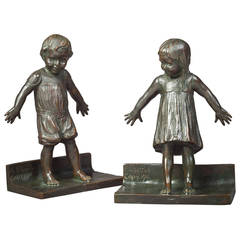 'Hide and Seek' Bronze Bookends by Abastenia St. Leger Eberle