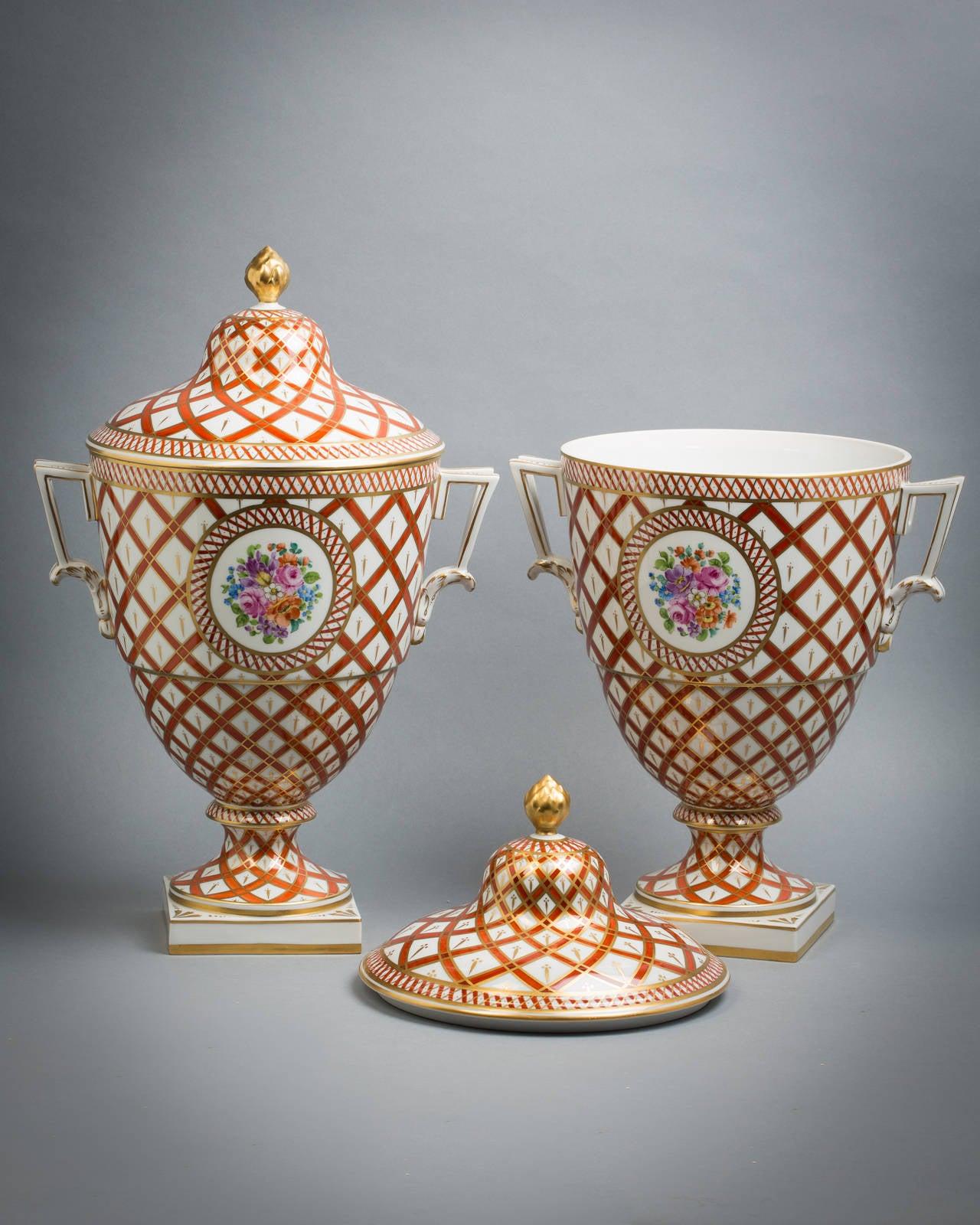Pair of German porcelain covered vases, Dresden, circa 1920.