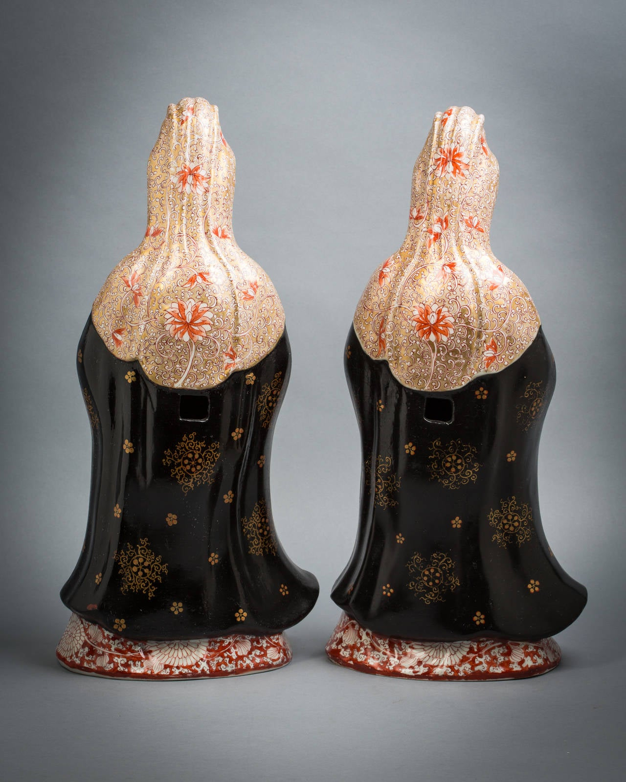 Pair of French porcelain chinoiserie figures, circa 1840.
