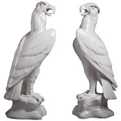 Pair of Chinese Export Porcelain Eagles, circa 1875