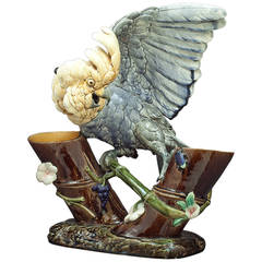 French Faience Cockatoo Double Vase, circa 1870