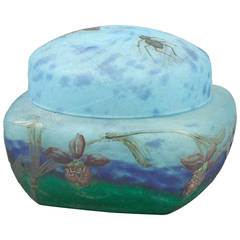 Daum Nancy Enameled Glass Covered Box, circa 1900