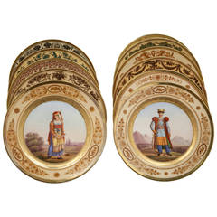 Set of 11 Paris Porcelain Plates, circa 1820