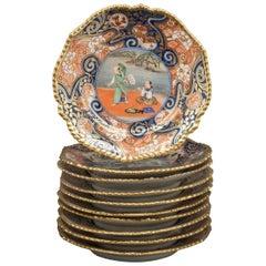 Set of Ten Bohemian Porcelain Dessert Plates