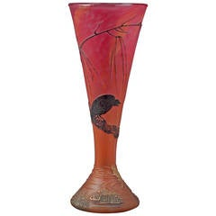 Daum Eagle and Frog Vase