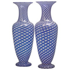 Pair of French 'Latticino' Glass Vases, circa 1880