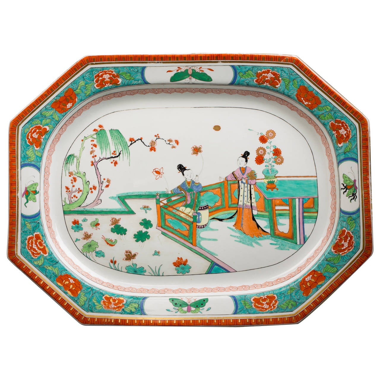 Large English Porcelain Serving Tray, Worcester, circa 1815 For Sale