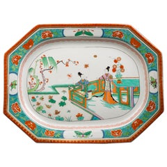 Large English Porcelain Serving Tray, Worcester, circa 1815