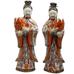 Pair of Chinese Export Figural Candleholders, circa 1775