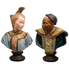 Pair of French Chinoiserie Busts, Bisque, circa 1880