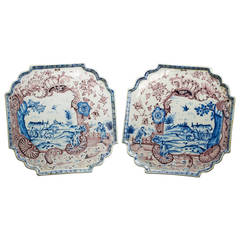 Pair of Delft Footed Decorative Trays, circa 1750