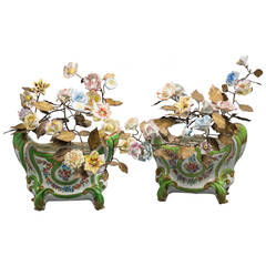 Pair of French Porcelain Cachepots, circa 1860