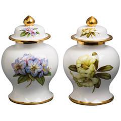Pair of English Porcelain Covered Urns, Spode Copeland, circa 1920
