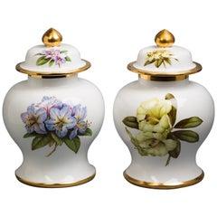 Pair of English Porcelain Covered Urns, Spode Copeland, circa 1950