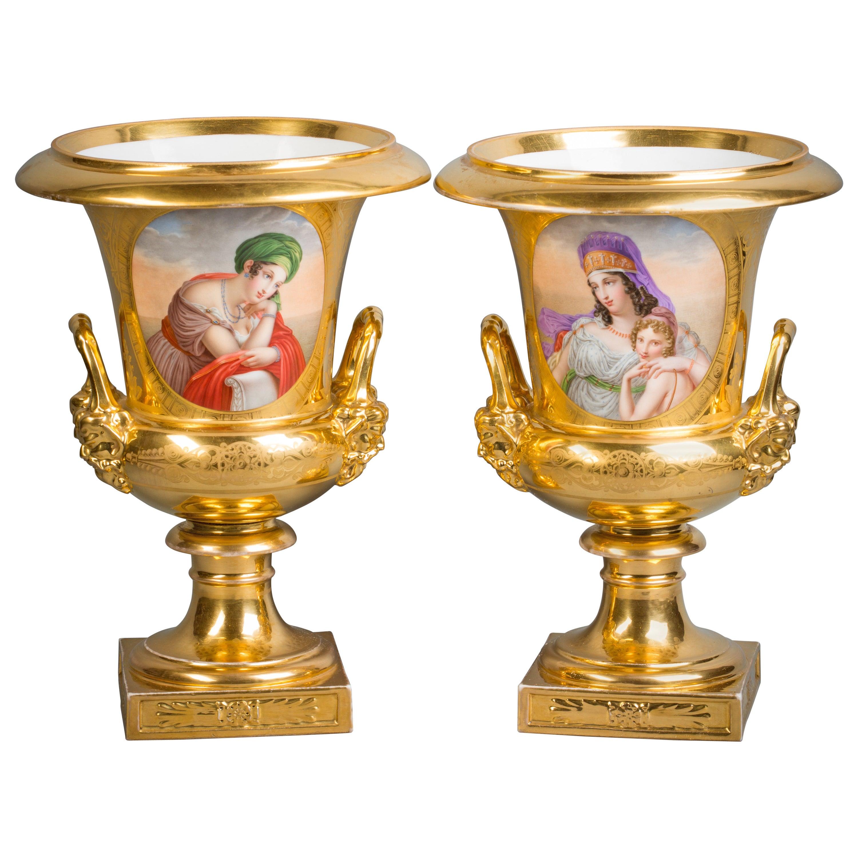 Pair of French Porcelain Vases, Darte Frères, circa 1820