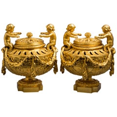 Pair of French Bronze Covered Potpourri Urns, circa 1840