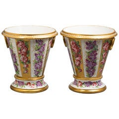 Pair of Paris Porcelain Cachepots and Stands, circa 1820