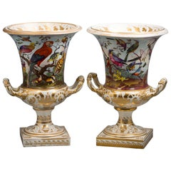 Pair of English Derby Porcelain Vases, circa 1820