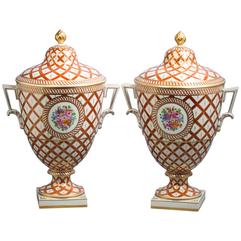 Pair of German Porcelain Covered Vases, Dresden, circa 1920 For Sale