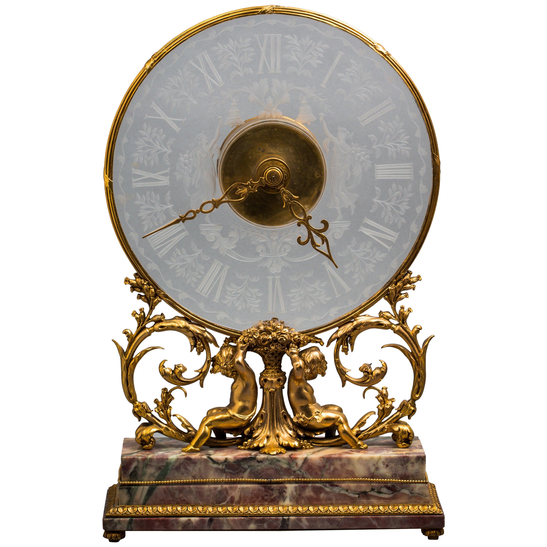 Bronze and Crystal Clock, E.F. Caldwell Co, New York, circa 1900