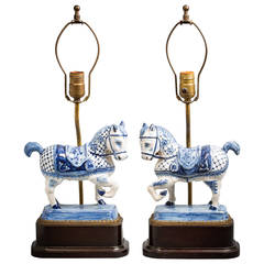 Pair of Dutch Blue and White Delft Horses, circa 1840