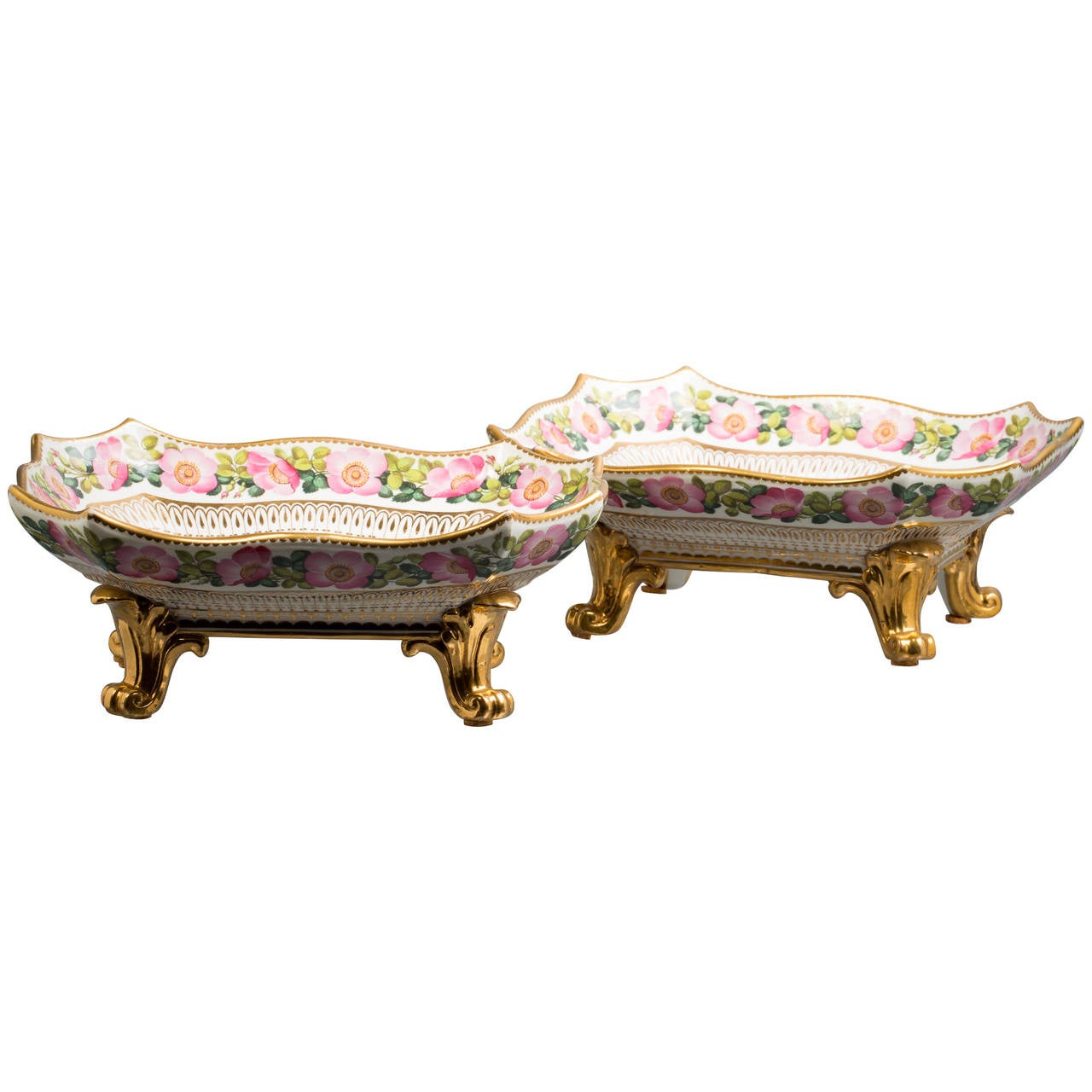 Pair of English Porcelain Footed Dishes, Coalport, circa 1830