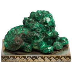 Silver Mounted Chinese Malachite Foo Dog, circa 1800
