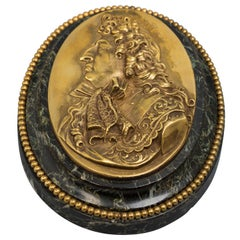 Bronze and Marble Paperweight with Bust of Louis XIV, circa 1900