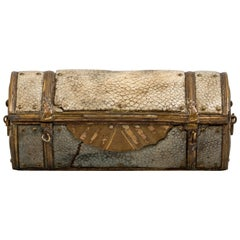 Antique Shagreen and Brass Trunk-Form Box, 18th Century