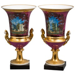 Pair of Paris Porcelain Vases, circa 1820