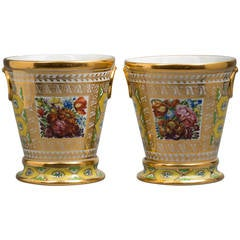 Pair of English Porcelain Cachepots on Stands, Coalport, circa 1820