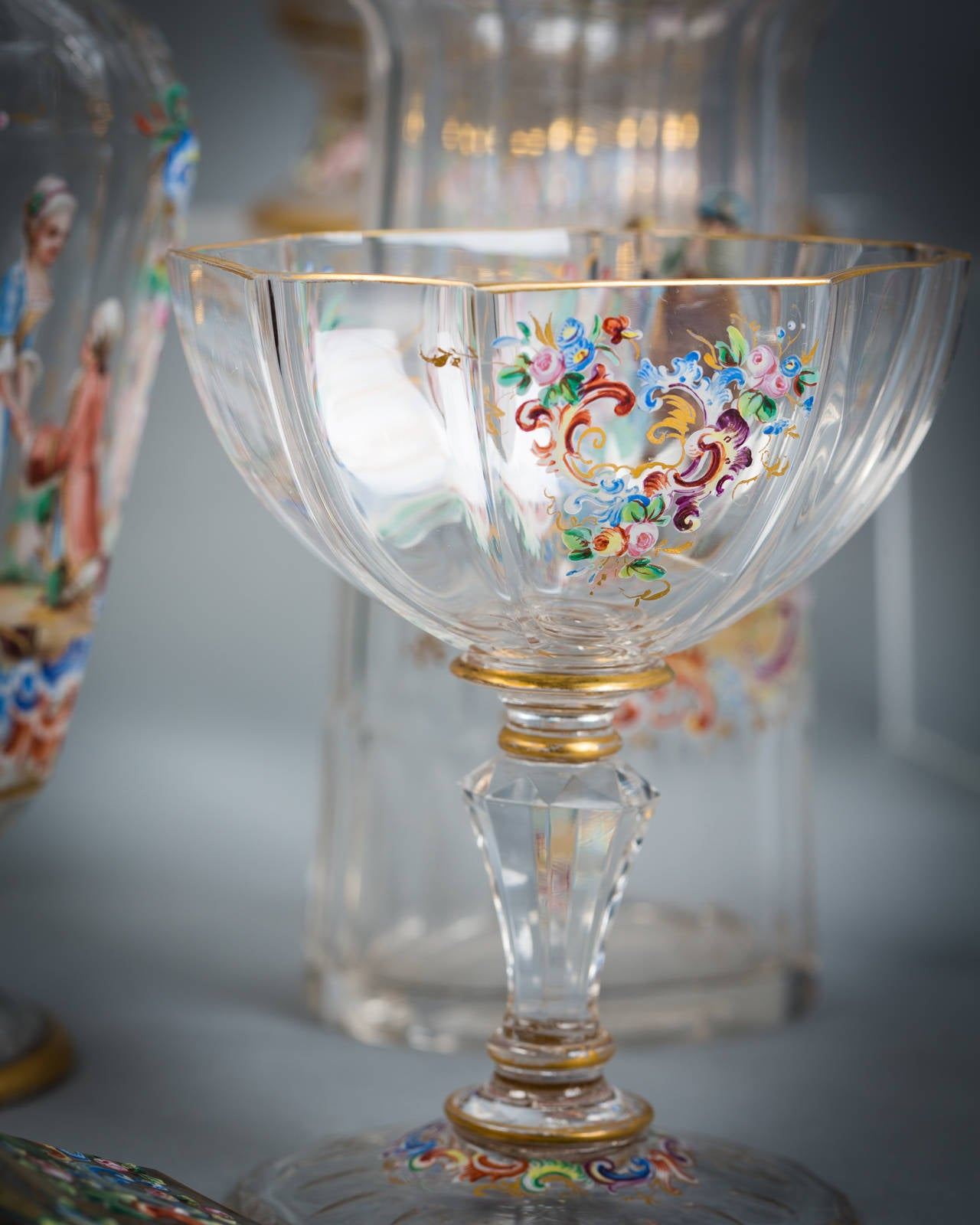 19th Century Austrian Enamel Table Glassware, Lobmeyr, circa 1890 For Sale