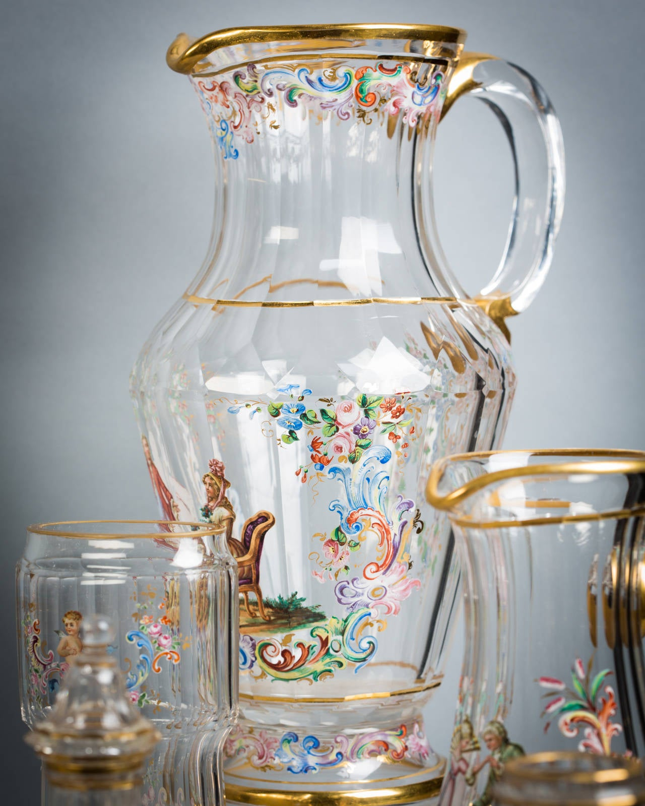 Austrian Enamel Table Glassware, Lobmeyr, circa 1890 For Sale 1