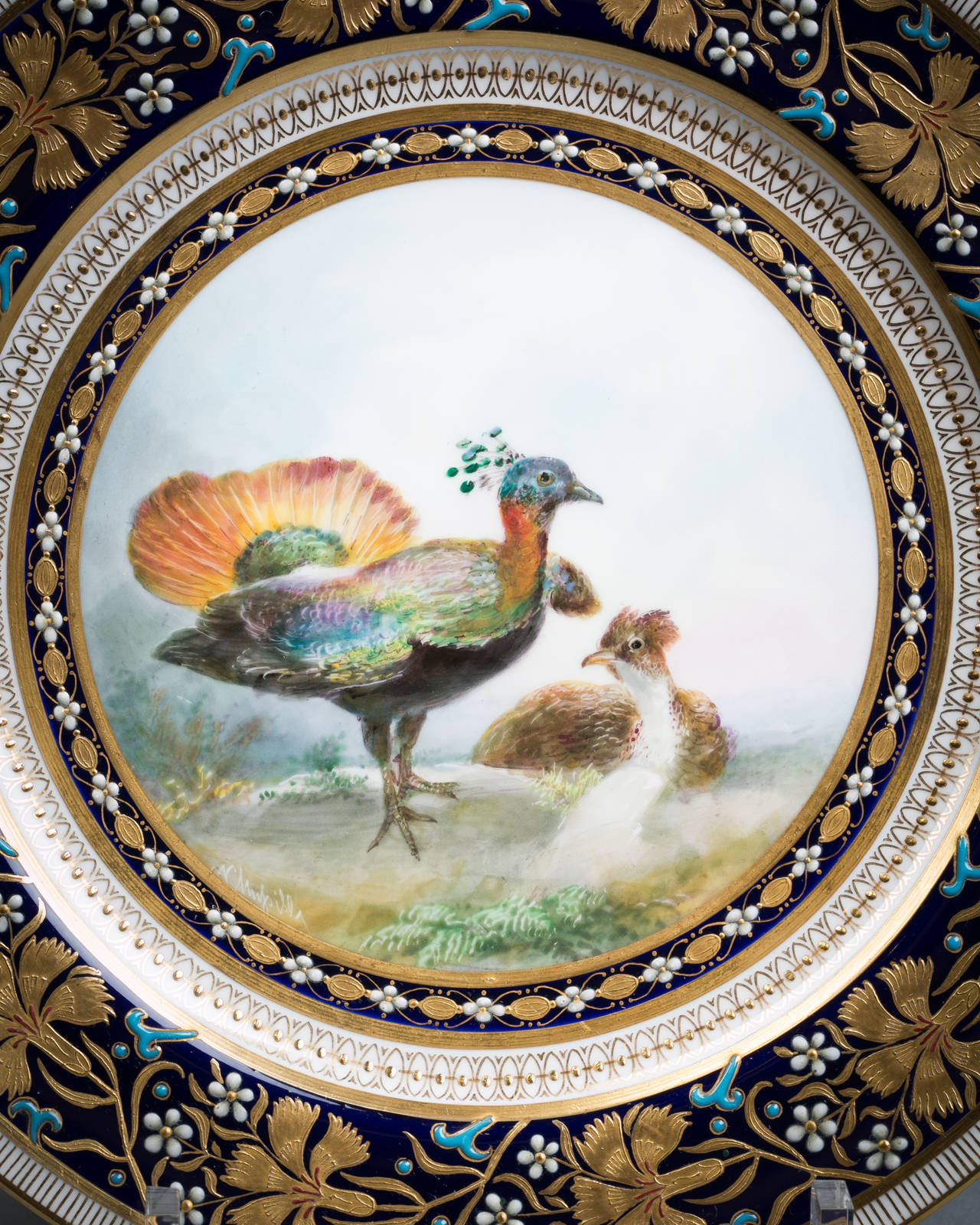 Late 19th Century Set of 18 English Porcelain Plates, Minton, circa 1890 For Sale