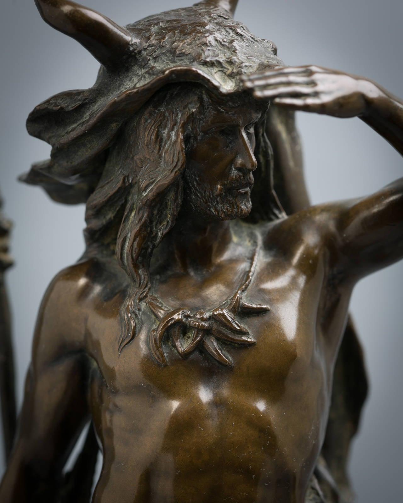 Bronze figure of a Teutonic warrior. Paul Ludwig Kowalczewski (German, 1865–1910).