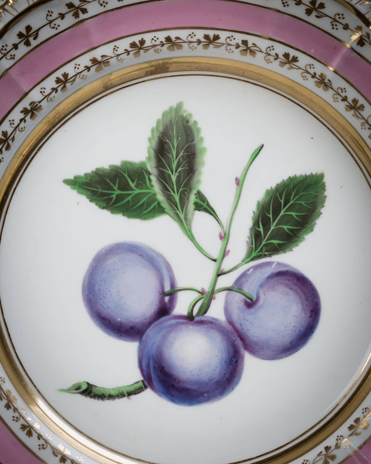 English Porcelain Fruit Service, Chamberlain Worcester, circa 1820 For Sale 1