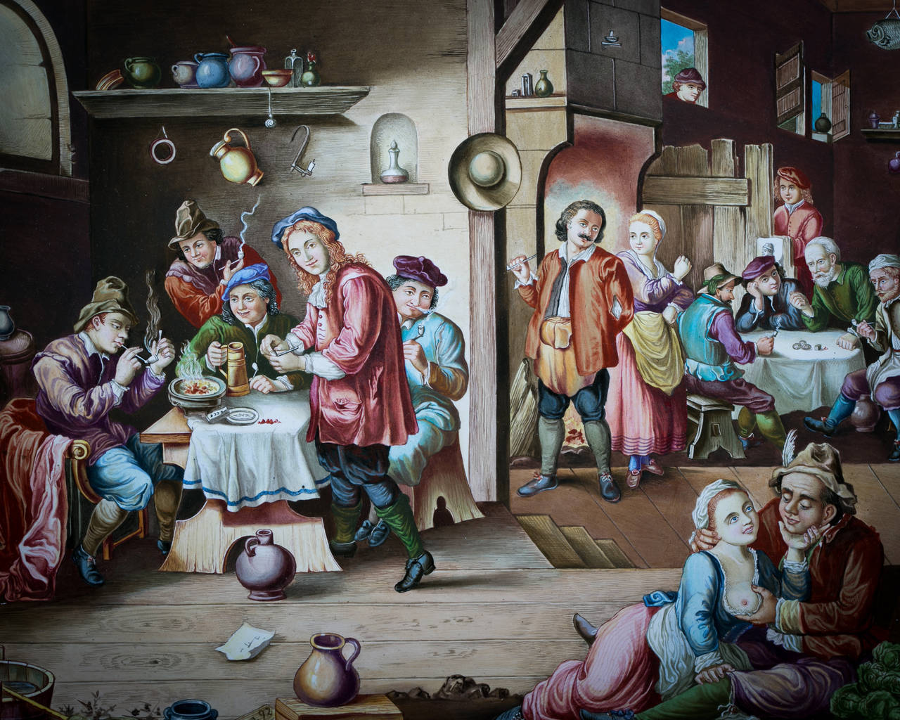 Austrian Viennese Enamel Painting of a Tavern Scene, circa 1875 For Sale