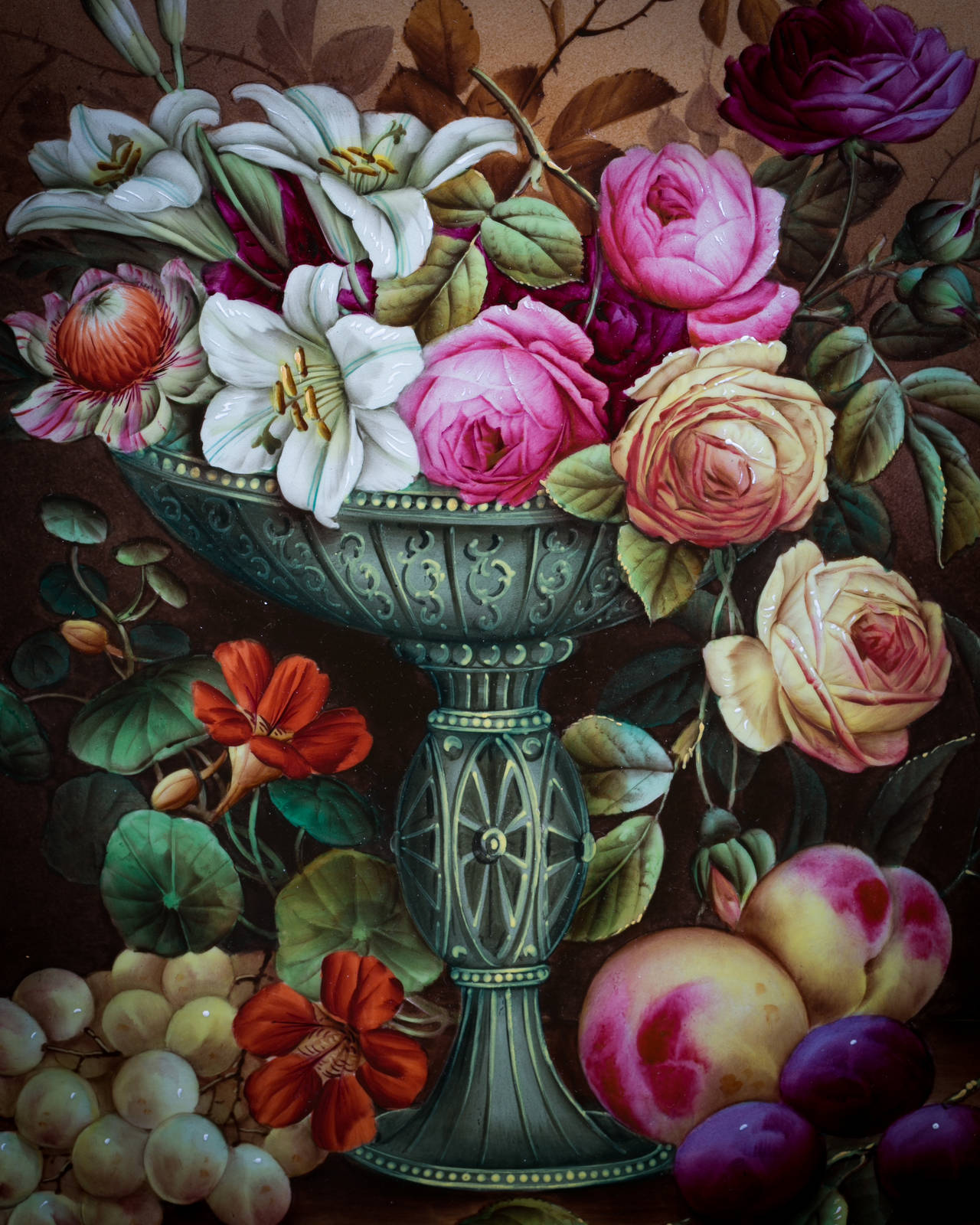 Framed English porcelain plaque, circa 1850. Signed artist Edwin Steele (son of Thomas).
