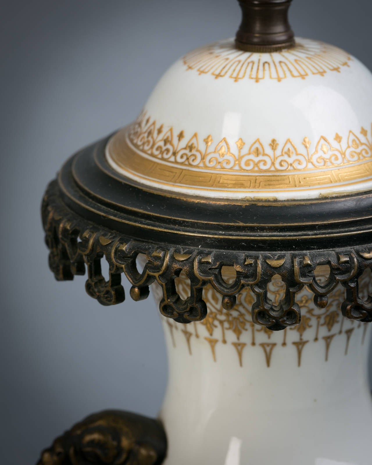 Pair Of Bronze-Mounted French Porcelain Lamps, Circa 1885