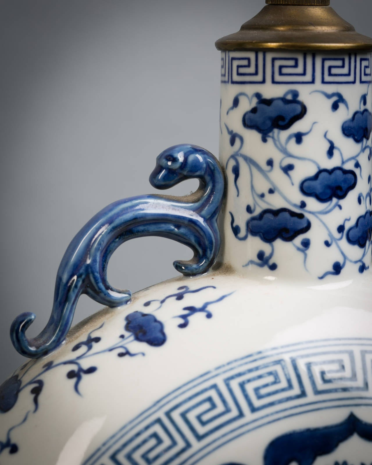 Pair of Chinese blue and white moon flask lamps, circa 1920.